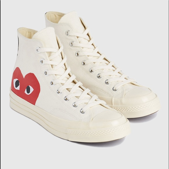 Cdg Play Converse White High Tops